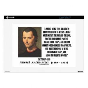 Machiavelli Prince Imitate Fox Lion Advice Quote Laptop Skin