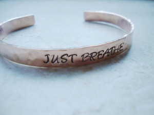 Just Breathe copper handstamped and hammered cuff by Lolasjewels, $12 ...