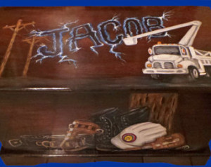 Custom Power Lineman Toy Box, kids furniture, wooden chest, room decor ...