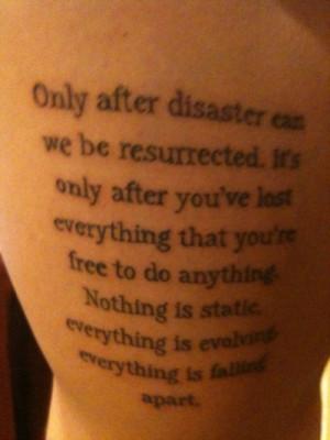 chuck palahniuk, fight club, ink, inked, quote, tattoo, tattoos