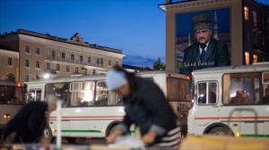 portrait of Akhmad Kadyrov overlooks traffic