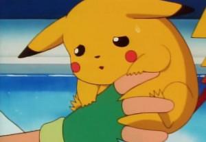 Pikachu Hanging on to Ash - pokemon Photo