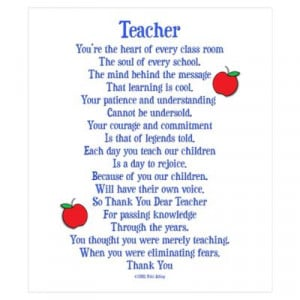 CafePress > Wall Art > Posters > Teacher Thank You Wall Art Poster