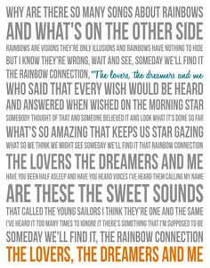 Song Lyric Poster - The Rainbow Connection - 11x14 - Gray, White, Teal ...