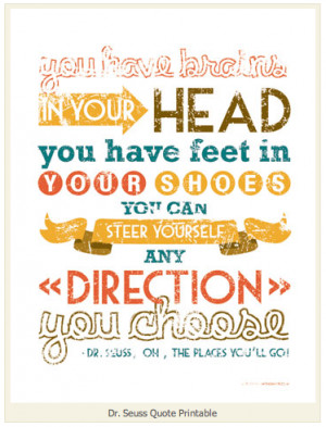 Being a huge Dr. Seuss fan, this free printable with a quote from the ...