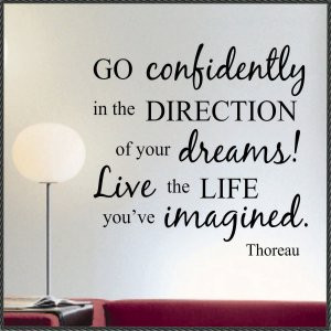 LARGE Vinyl Wall Words Inspirational Quotes Go Confidently Thoreau