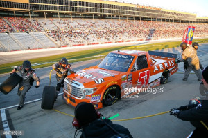 Daniel Suarez driver of the 51 ARRIS Toyota pits during the NASCAR