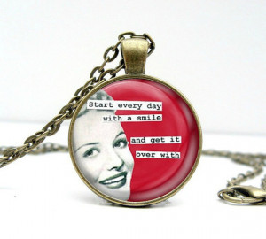 Retro Quote Necklace : Smile Everyday. Glass Picture Pendant Photo ...