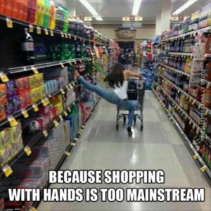 funny picture because shopping with hands is so mainstream hipster