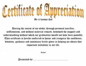 Certificate Of Appreciation Words
