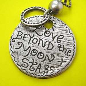 Love Beyond the Moon and Stars - Round Coin Love Quote Necklace Silver ...