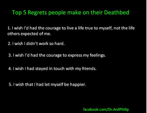 Top 5 Regrets people make on their Deathbed