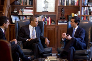 President Obama meeting Governor Fortuno and Rep Pedro Pierluisi