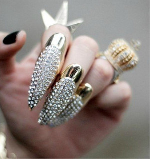 -Sharp-claws-long-claw-ring-Punk-fingernail-rhinestone-ring-nails ...