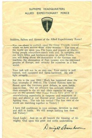 ... 'Ike' D-Day message handed out to D-Day troops. Courtesy: Gary Ames