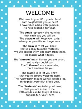Welcome Back Poem for Goodie BagClassroom Stuff, Classroom Helpers ...