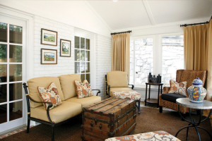 Interior view of beautifully remodeled resort style screened-in porch