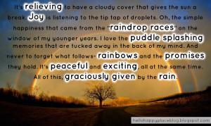 Thank God for the Rain