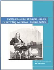 Famous Quotes of Benjamin Franklin Cursive Handwriting CopyWork