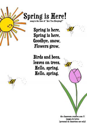 FREEBIE: Spring Song Printable for Kids