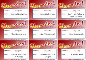 Words for Wedding Charades
