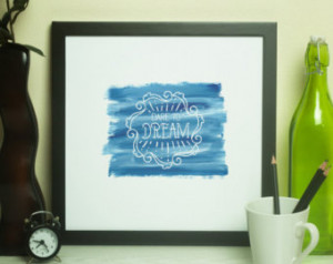 INSTANT DOWNLOAD-Motivation-Quotes- World-Blue Watercolor-Hand-drawn ...