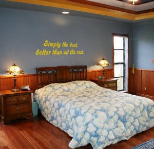 Yellow Simply The Best (Tina Turner) Lyric wall decal above a bed