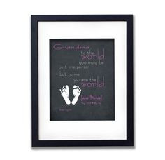 Personalized Mother's Day Gift for Grandma - Chalkboard Baby footprint ...