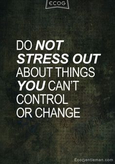 Quotes - Do not stress out about things you can not control ...