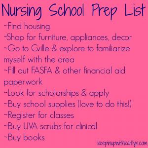 Nursing School Quotes Nursing school prep list