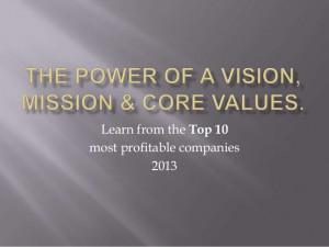 Profitable companies vision mission core values 2013
