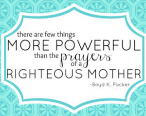 LDS Quote Printable- Power of Mothe rs Prayer -Blue ...