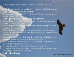 Wonderful Poem on Gratitude - author and title unknown