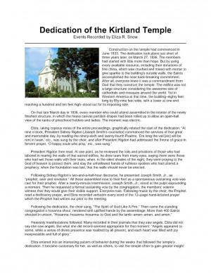 LDS Gospel Freebie Handouts: Kirtland Temple Dedication