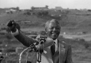 Mandela addressing a rally near Pietermaritzburg, April 1990, in the ...