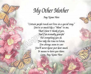 TO MY SECOND MOM PERSONALIZED ART POEM MEMORY BIRTHDAY MOTHER'S DAY ...