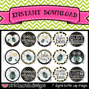 Cute as Can Bee - Bumblebee & Sayings - INSTANT DOWNLOAD 1