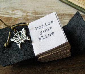 book necklace inspirational quote follow your bliss by akinto, $24.00