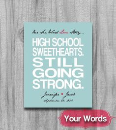 ... Gift Typography Poster Names High School Sweetheart on Etsy, $20.00