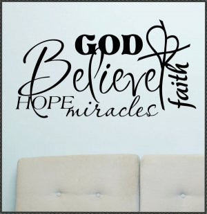 Vinyl Wall Lettering Quotes Religious Word Collage Believe