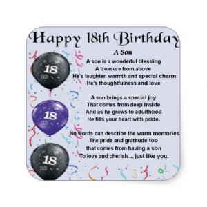Son Poem 18th Birthday Stickers