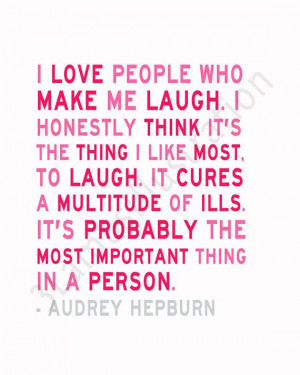 Audrey Hepburn Quote Print I Love to Laugh Light & Raspberry Pink 8 x ...