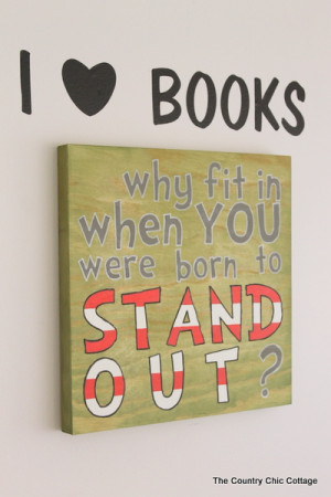 """Dr. Seuss Quote Sign """"Why Fit In When You Were Born to Stand Out ..."""