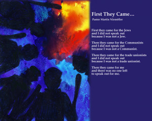 First They Came For The Jews / Martin Niemöller. Artwork: Liz Elsby