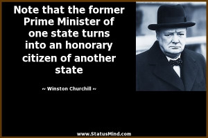 ... citizen of another state - Winston Churchill Quotes - StatusMind.com