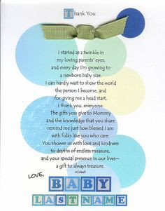 Baby Shower Thank You From Unborn Baby Poems | Gender Select an option ...