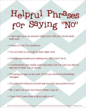 Free Printable: Helpful Ways To Say…NO