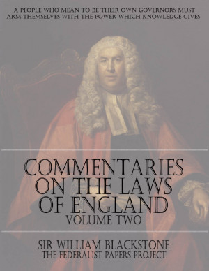 ... Laws of England – Volume Two by Sir William Blackstone Book Cover