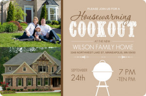 Brown Backyard Cookout Housewarming Invite