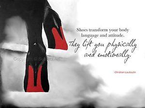 CHRISTIAN LOUBOUTIN Black Shoes ART PRINT, Fashion Quote 10 x 8
